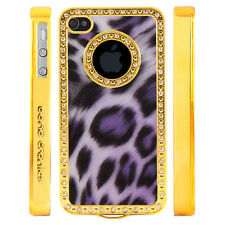 Apple iPhone 4 4S Gem Crystal Rhinestone Purple Shimmer Leopard Plastic case