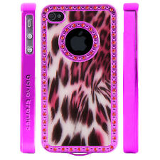 Apple iPhone 4 4S Gem Crystal Rhinestone Dark Pink Shimmer Leopard Plastic case