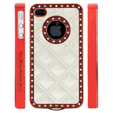 Apple iPhone 4 4S Gem Crystal Rhinestone White 3D Diamond Pyramid case