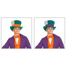 Mad Hatter Costume Accessory Adult Mens Top Hat Fancy Dress Halloween