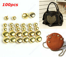 Hot Gold Round Cone Studs Rivets Spikes Punk Bag Belt  DIY Leathercraft100pcs