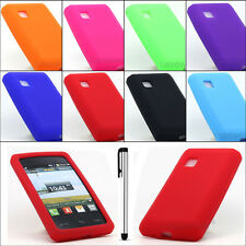 For LG 840G Tracfone Soft Silicone Gel Skin Case Phone Cover+ Free Stylus Pen