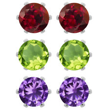 Amethyst Peridot Garnet Round Post With Friction Back Stud Earrings 6MM