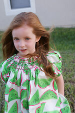 New Beautiful girls green summer dress hand smocked with watermelons 17065