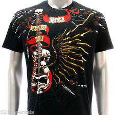 a45b M L XL XXL Artful T-shirt Tattoo Skull Ghost Demon Angel Wing Guitar Music