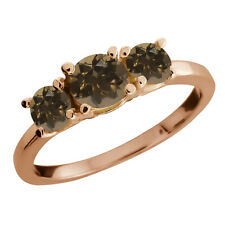 0.98 Ct Round Brown Smoky Quartz Gold Plated 925 Silver Ring