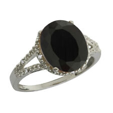 2.55 Ct Oval Black Onyx and White Topaz 925 Silver Ring