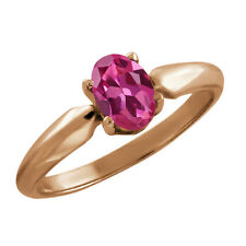 0.85 Ct Oval Pink Tourmaline Rose Gold Plated 925 Silver Ring