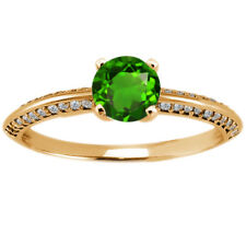 1.08 Ct Round Green Chrome Diopside 925 Yellow Gold Plated Silver Ring