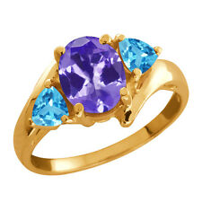 1.72 Ct Oval Tanzanite and Topaz Gold Plated 925 Silver Ring
