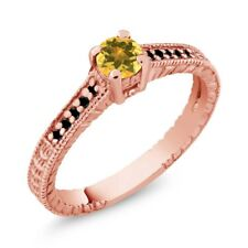 0.33 Ct Round Yellow Citrine Black Diamond 925 Rose Gold Plated Silver Ring