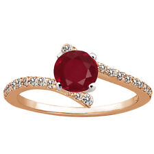 1.36 Ct Round Red Ruby Diamond 925 Rose Gold Plated Silver Ring