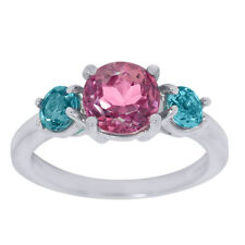 2.35 Ct 3-Stone Pink & Topaz 925 Silver Ring