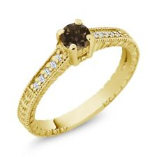 0.36 Ct Round Brown Smoky Quartz White Topaz 925 Yellow Gold Plated Silver Ring