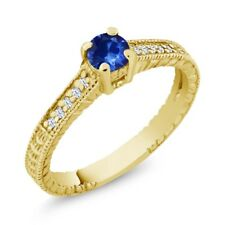 0.34 Ct Round Blue Sapphire White Topaz 925 Yellow Gold Plated Silver Ring