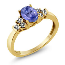 0.65 Ct Oval Blue Tanzanite White Diamond 925 Yellow Gold Plated Silver Ring