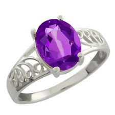 1.66 Ct Oval Purple Amethyst Sterling Silver Ring 9X7mm (Available In Sizes 5-9)