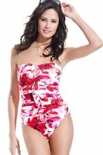 $162 Miraclesuit 80744 Different Strokes Pink Camilla Ruffle Bandeau Swimsuit