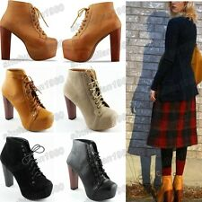 New Women's Rough Heels Boots Ladies High Heels Shoe Lace Up Ankle Shoes Boots