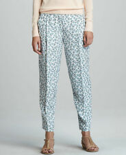 THEORY Rina Printed Pondicherry 100% Silk Relaxed Trouser Pants - Aqua $265