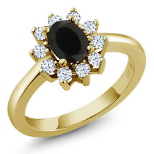 1.08 Ct Oval Black Onyx and White Topaz Gold Plated 925 Silver Ring