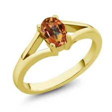 0.95 Ct Oval Ecstasy Mystic Topaz Yellow Gold Plated Silver Ring