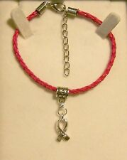 NEW PLAITED LEATHER BRACELET WITH AWARENESS HOPE RIBBON CHARM *VARIOUS COLOURS)