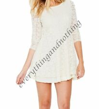 Love Label Asos Long Sleeve Lace CREAM / IVORY Mini  Dress    sizes UK 8 10
