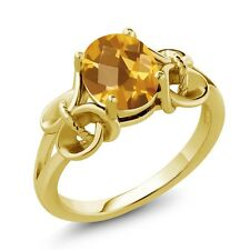 1.60 Ct Checkerboard Citrine Gold Plated 925 Silver Ring