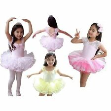 Girls Kids Leotard Ballet Tutus Pink/Blue Dancewear Skate Dresses 3-8Y Clothing