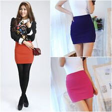11 Candy Colors Women's Sexy Above Knee Mini Skirt Seamless Elastic Tight Fitted