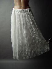 White Romantic Antique Style Victorian Floral Lace Sweet Vtg-y Pleated mv Skirt