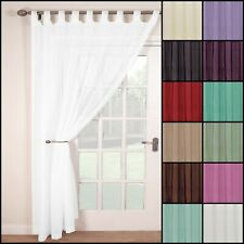 SINGLE WOVEN VOILE TAB TOP NET CURTAIN PANEL. 9 SIZES.