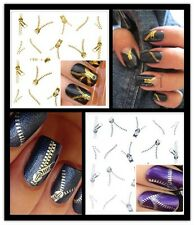 1Pcs NAIL ART WATER TRANSFERS STICKERS ippers Gold&Silver Water Nail Decals