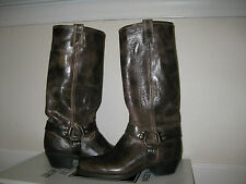 NEW FRYE Carmen 15R Tall BOOTS Chocolate Brown Shoes Pull-on Cowboy $378 Harness