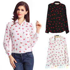 Collared Chiffon OL Shirt Blouse Womens Kiss Print Long Sleeve Tops T-Shirt BF2U