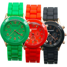 UNISEX MENS WOMENS GENEVA SILICONE JELLY GEL QUARTZ ANALOG SPORTS WRIST WATCH