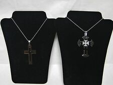 "Stainless Steel Triple Cross with Diamond IP Plating with 30''/22"" Bead Chain"