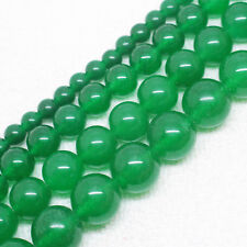 Pretty Green Jade 4,6,8,10,12,14mm Round Loose Beads 15""