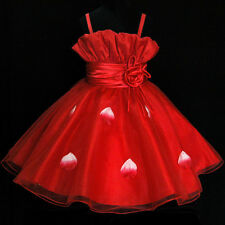 R5299 Red Christening Church Wedding Party Flower Girls Dress SZ 2,3,4,5,6,7,8,9