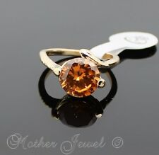 EXQUISITE LADIES GIRLS ENGAGEMENT SOLITAIRE ROUND AMBER CZ 9CT GOLD PLATED RING