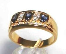 CZ SAPPHIRE & CLEAR WHITE CZ ALTERNATING STONES AND CLEAR ACCENTS RING GOLD (GP)