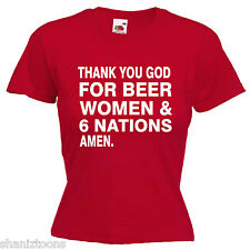 Beer Women 6 Nations Rugby Ladies Lady Fit T Shirt 13 Colours Size 6 -16
