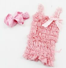 Newborn Baby Girls Light Pink Lace Petti Posh Rompers Straps Bow Headband 2pc