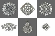 Antiqued Silver Filigree Flower Snowflake Square Teardrop Link Drop Bead Finding