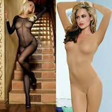Sexy opaque & fishnet Open crotch Body stocking LONG SLEEVE Bodysuit Unitard