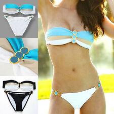 Womens Push Up Padded Button Striated Bikini Swimwear Beach Bathing Suit