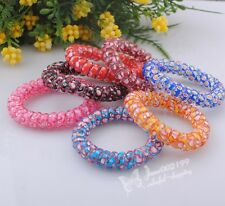 10/30/50x Upick Mix Plastic Telephone Wire Hair Accessories Hair Rope Band ER052
