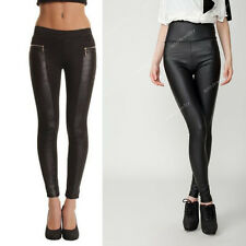 Women Vintage Sexy mesh  Panel Stretchy Faux Leather Tight Casual Pant Leggings