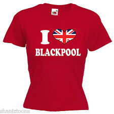 I Love Heart Blackpool Ladies Lady Fit T Shirt 13 Colours Size 6 - 16